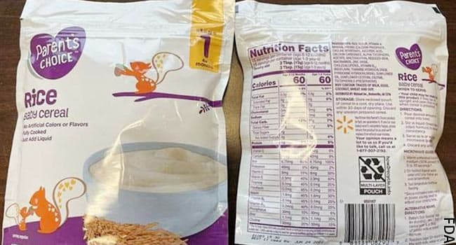 Baby Cereal Sold at Walmart Recalled forArsenic Levels